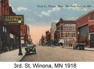 Color postcard photo of 3rd. St, Winona, MN, 1918