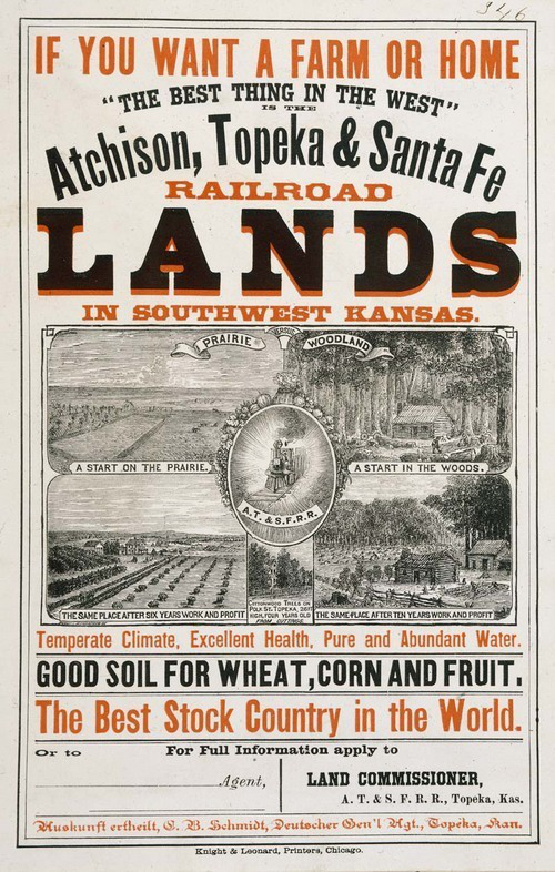 Two-color poster (orange and black) with black and white woodcuts of Kansas images, and the slogan 'If you want a farm or home the best thing in the west is the Atchison, Topeka & Santa Fe Railroad'
