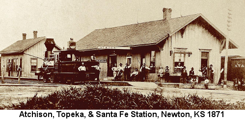 Sepia-tone photograph of the Atchison Topeka & Santa Fe Railroad station in Newton, Kansas in 1871, showing a steam locomotiv and several people lounging around the station exterior