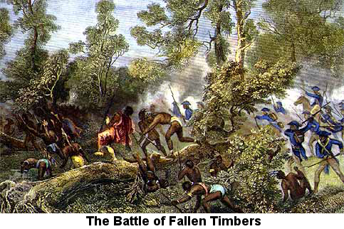 Painting showing Native Americans and American army soldiers fighting at very close quarters over a stone wall.