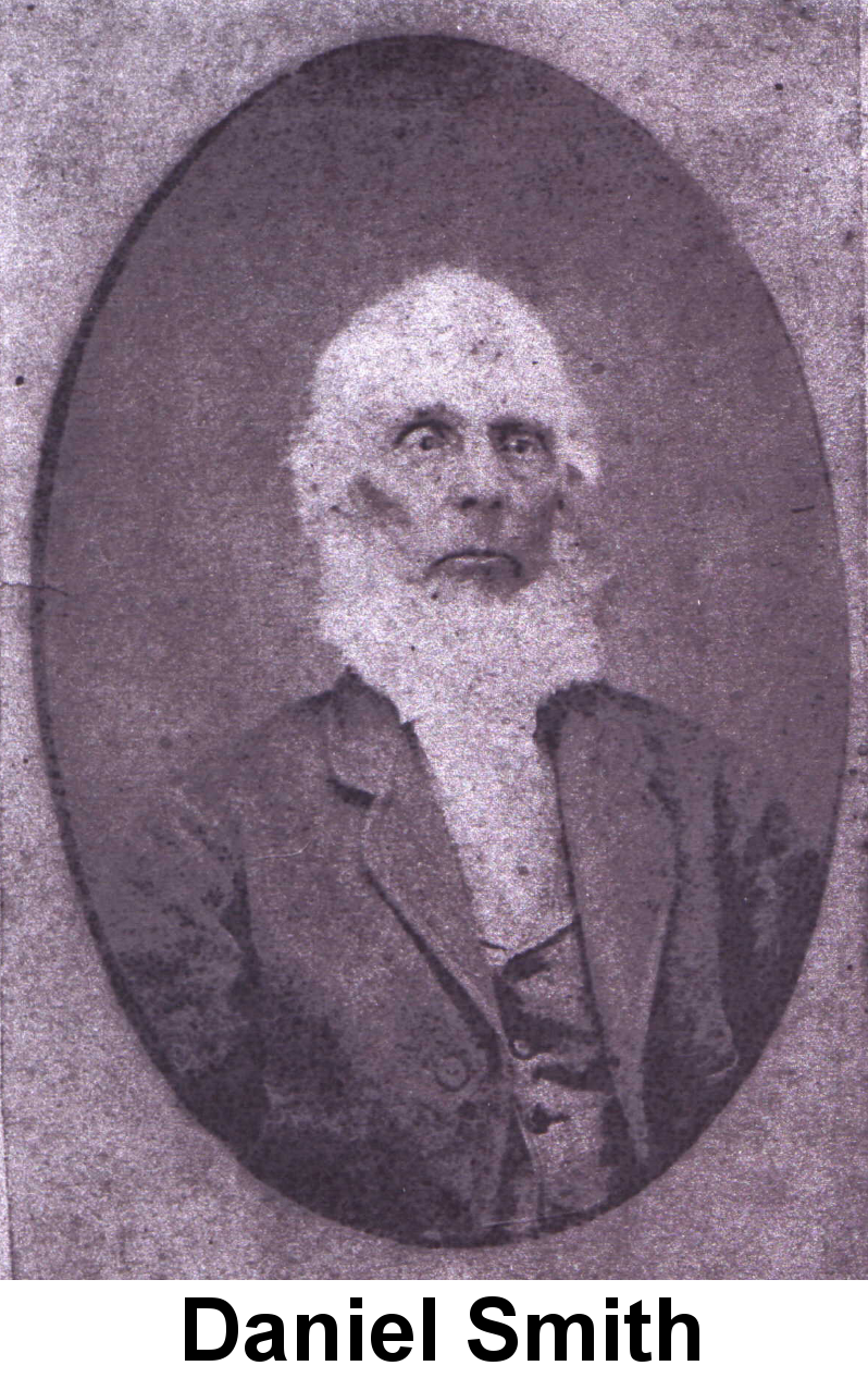 Daguerreotype photo of Daniel Smith: Purplish stained image of a stern-faced elderly bald man with white chin whiskers