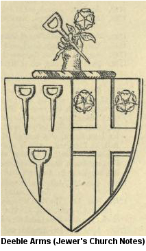 Deeble coat of arms from Jewer's Church Notes