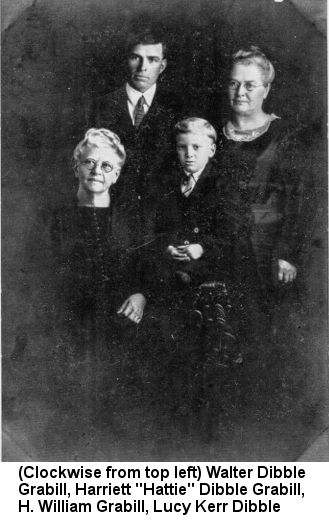 Black and white photograph of six young women: Caption reads '(Clockwise from top left) Walter Dibble Grabill, Harriet 'Hattie' Dibble Grabill, H. William Grabill, Lucy Kerr Dibble'