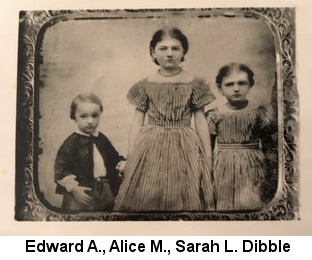 Sepia-tone photograph of three children, Edward A. Dibble (about age 4), Alice M. Dibble (about 6) and Sarah L. Dibble (about 8)