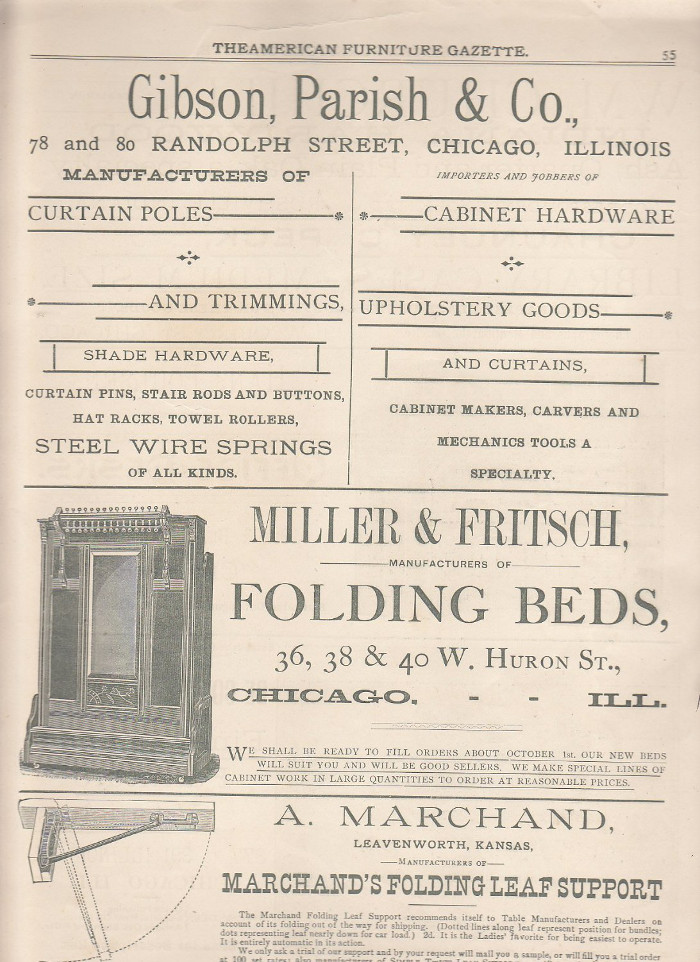 Black and white full page newspaper ad showing product lines for Gibson, Parish & Co., Miller & Fritsch, and A. Marchand
