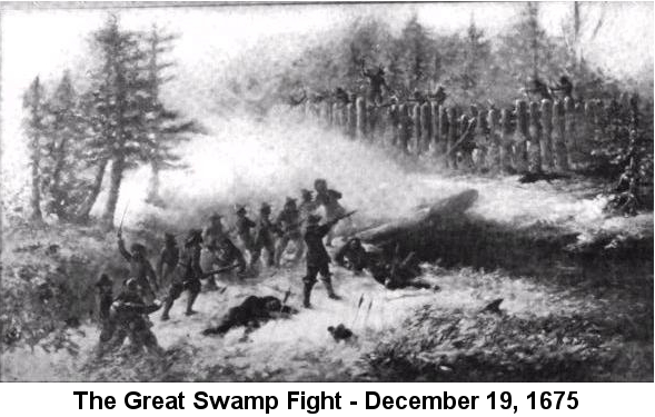 Black and white drawing depicting the Great Swamp Fight