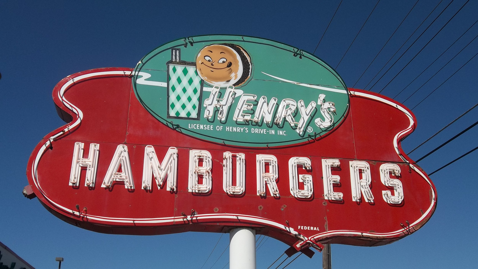Neon sign for a Henry's Hamburgers restaurant