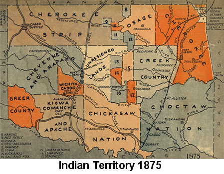 Color map showing the locations of various tribes, and 'unassigned lands' in Indian Territory in 1875