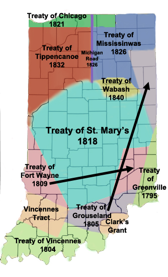 Color map of the state of Indiana, with county boundariea and regions covered by various Native American treaties in different colors.