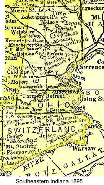 Line drawing map of Dearborn, Ohio, and Switzerland Counties in Indiana from 1895 atlas