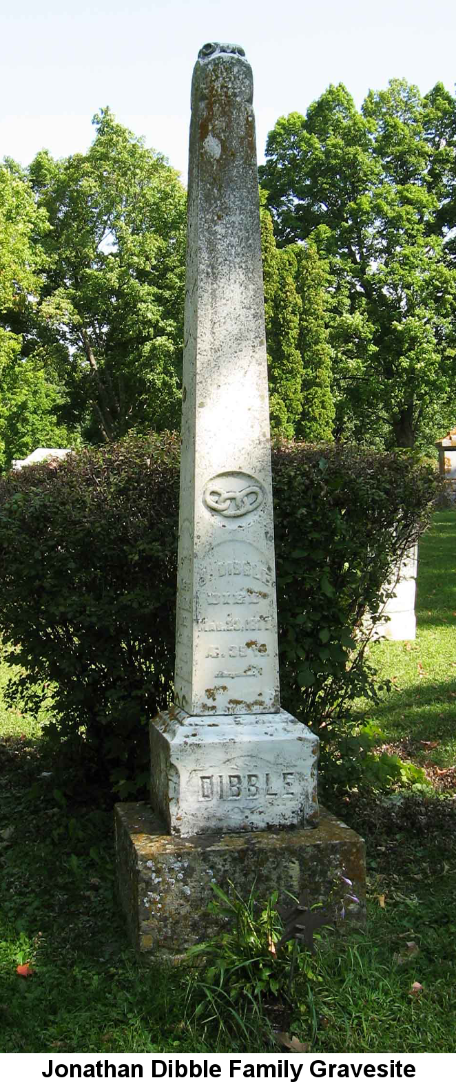 Color photo of Jonathan Dibble's family cemetery monument