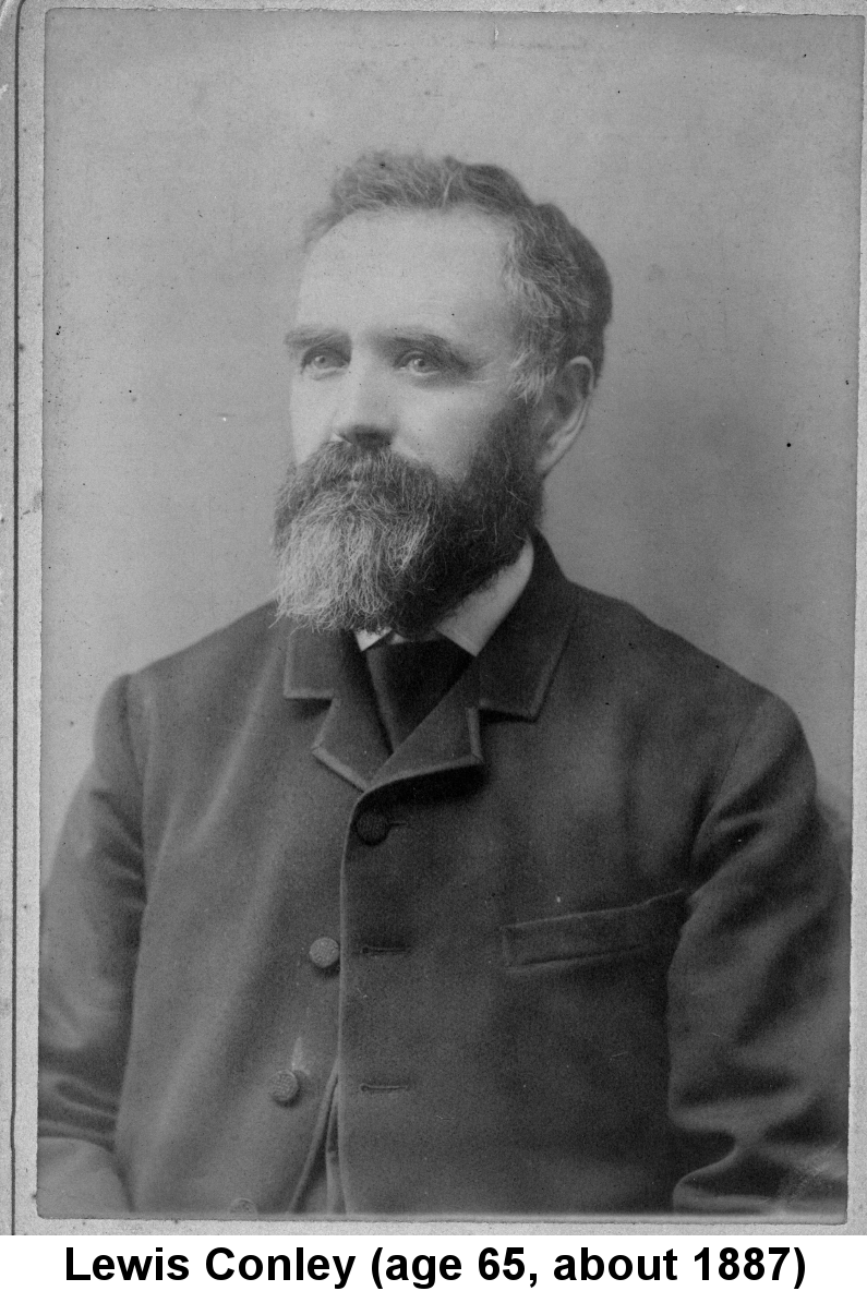 Lewis Conley (age 65, about 1887); black and white portrait photo of a handsome full-bearded man with curly graying hair, in suit and tie