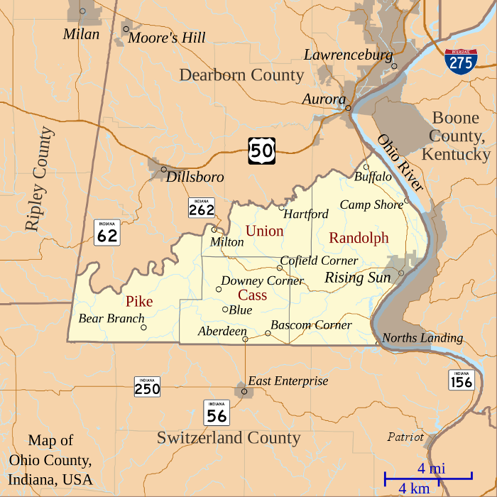 Modern map of Ohio County showing locations discussed on this page.
