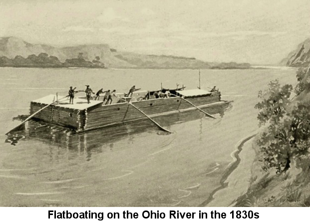 Black and white reproduction of a watercolor painting depicting several men at the oars of a large flatboat made of logs, near one bank of the Ohio River