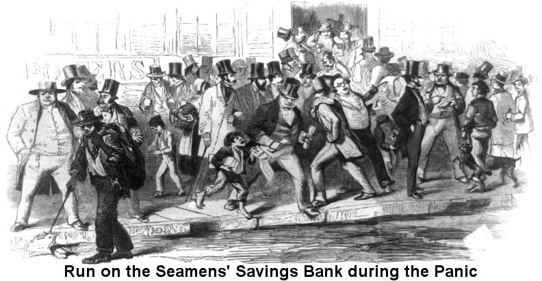 Run on the Seamen's Savings Bank during the Panic of 1857; black and white woodcut showing 'a crowd gesturing and shoving. A ragpicker picks up now-worthless stock certificates, and a pickpocket operates unnoticed.'