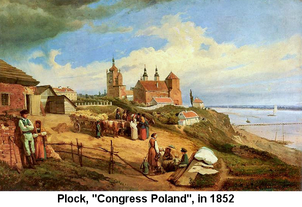 Color painting of Plock, Poland showing a family and men and women surrounding a hay wagon pulled by oxen, in front of a church on the bluff above the Vistuala River; painted by Wojciech Gerson