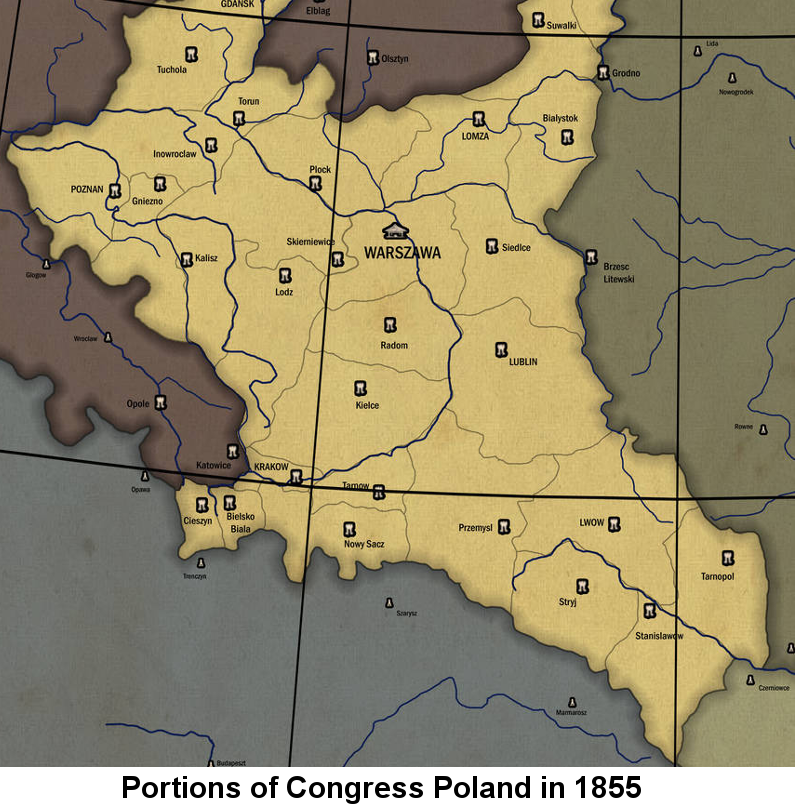 Line-drawn map in shades of brown showing the central areas of Congress Poland, including Warszawa and Siedlce Provinces