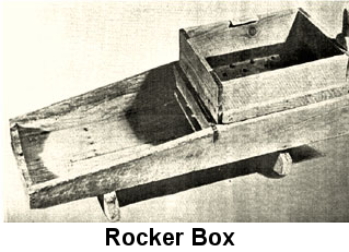 Black and white photo: Rough, unfinished, weathered rocker box.