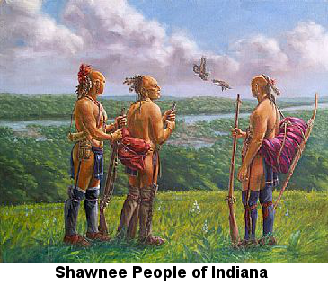 Color painting of three Native American men in native dress (partially shaved heads with feathers in their hair, wearing loincloths and leggings, holding long rifles and bows, standing on a high grassy hill overlooking a river surrounded by forest