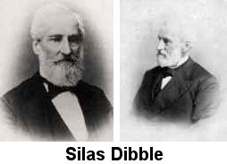 Two small black and white photos of Silas Dibble from the shoulders up; one full-face, the other in profile