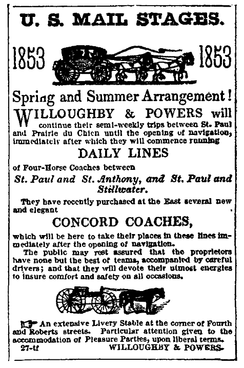 1853 newspaper ad for US Mail Stages running from St. Paul, MN, offered by Willoughby & Powers