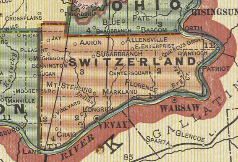 Colorful map of Switzerland County showing many locations discussed on this page.