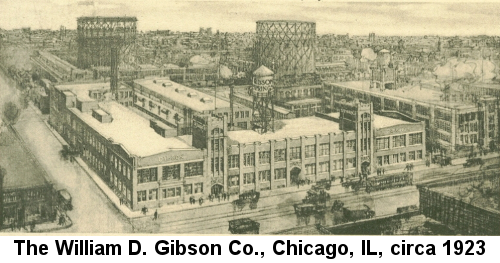 Black and white drawing of the William D. Gibson Co. factory in Chicago, circa 1923