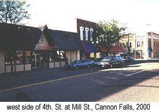 Color photo of the west side of 4th. St. at Mill St., Cannon Falls, 2000, showing the presumed location of Dibble Bros. butcher shop