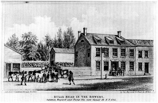 Woodcut of the Bull's Head Tavern