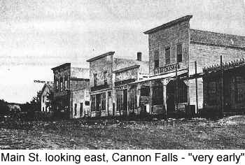 Black and white photgraph of Main St. looking east, Cannon Falls, 'very early'