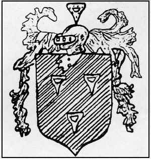 Black and white drawing of the Dibble coat of arms, a shield on which are placed 3 beansetters, above which is a knight's helmet surrounded by flourishes