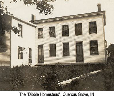 Black and white photo of the Dibble 'Homestead' in Quercus Grove, IN