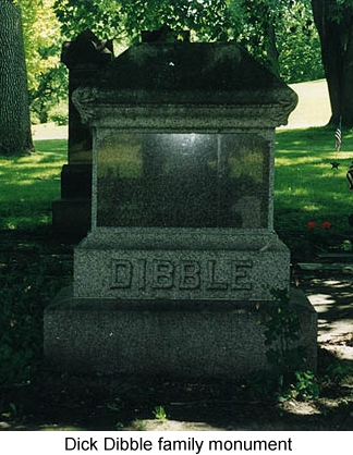 Color photo of Dick Dibble's family cemetery monument