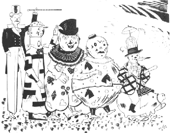 Black & white cartoon of several 19th. century clowns