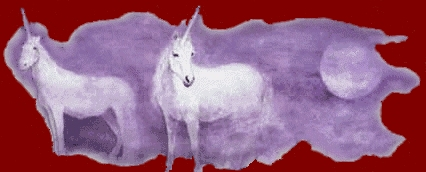 Two unicorns standing in a purple mist next to a purple moon