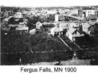 Black and white wide-angle photo of the town of Fergus Falls, MN in 1900