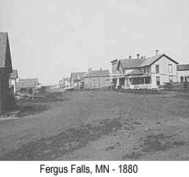 Black and white photo of a street in Fergus Falls, MN in 1880