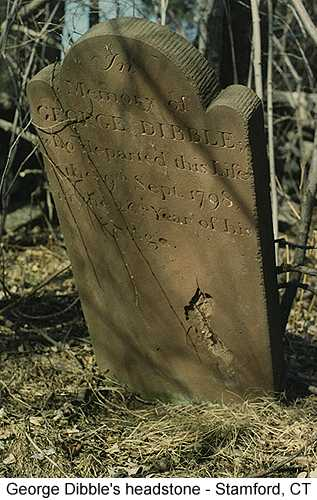 Color photo of George Dibble's headstone in Stamford, CT