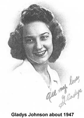 Photocopy of a black and white photo of Gladys Johnson, about 1947, inscribed `All my love, Gladys'