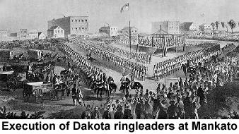 Black and white drawing of a crowded scaffold showing 38 Dakota, surrounded by ranks of soldiers; the execution of Dakota ringleaders at Mankato