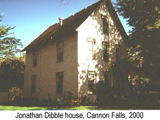 Color photo of the Jonathan Dibble house in Cannon Falls in 2000