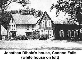 Photocopy of a black and white photo of a white frame house in Cannon Falls once occupied by Jonathan Dibble
