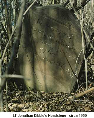 Color photo of Lt. Jonathan Dibble's headstone taken circa 1950