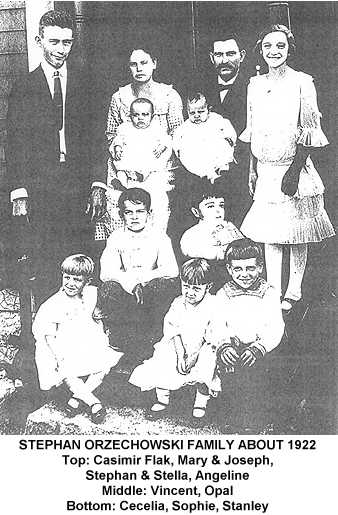 Photocopy of a black and white family photo of the Stephan Orzechowski family in about 1922