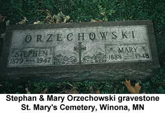 Color photo of Stephan and Mary Orzechowski's gravestone