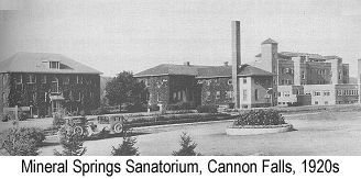 Black and white  photograph of the Mineral Springs Sanatorium in Cannon Falls during the 1920s