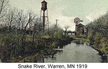 Color postcard painting of a watertower and windmill along the narrow Snake River at Warren, MN, 1919