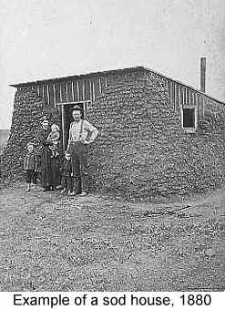 Black and white photograph of a family standing in front of a sod house in 1880
