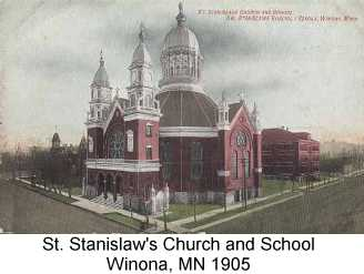 Color postcard painting of St. Stanislaw's church and school, from 1905