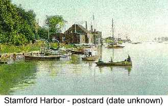 Postcard painting of Stamford Harbor